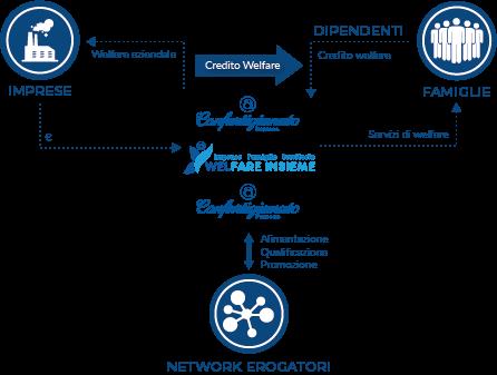 Infografica, schema della gestione di WelFare Insieme